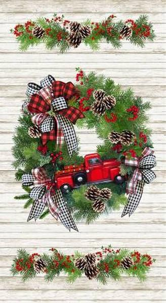 I'll be Home for Christmas Red Truck Panel by Timeless Treasures available in Canada at The Quilt Store
