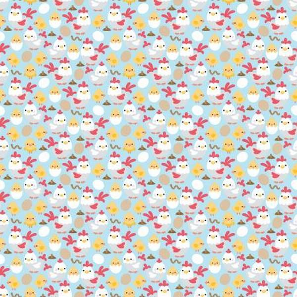Down On The Farm Chicks Blue by Riley Blake Designs available in Canada at The Quilt Store