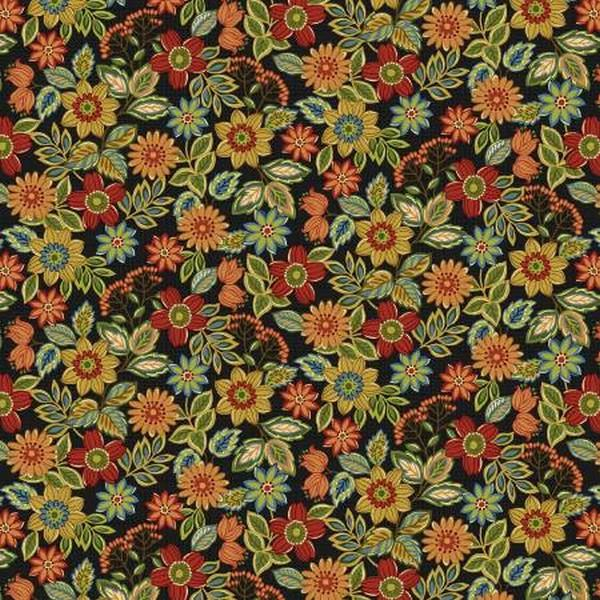 Farm to Table Black Wildflowers by Jan Mott for Henry Glass & Co. available in Canada at The Quilt Store