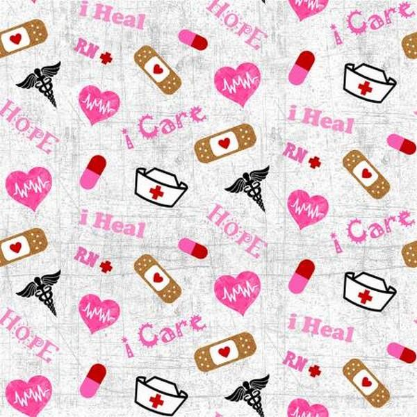 Nuses Care Fabric by Sykel Fabrics available in Canada at The Quilt Store