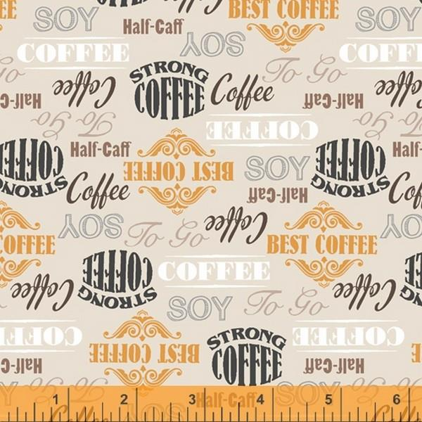 Coffee Stop Cream Words by Windham Fabrics available in Canada at The Quilt Store