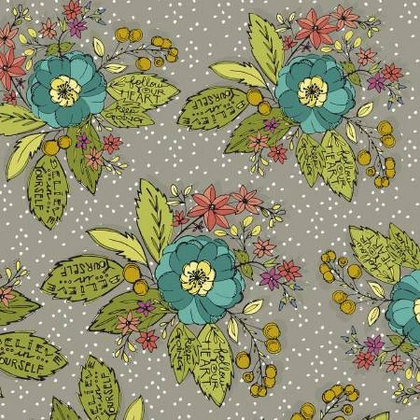 Bubbie's Buttons & Blooms Grey Floral available in Canada at The Quilt Store