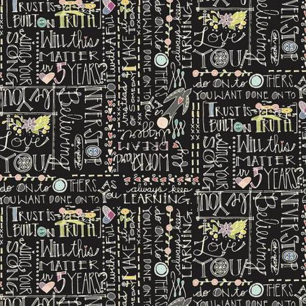 Bubbie's Buttons & Blooms Black Words available in Canada at The Quilt Store