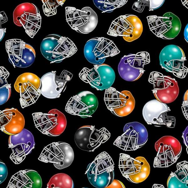 Football Helmets Black by QT Fabrics available in Canada at The Quilt Store