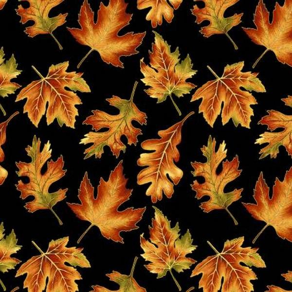 Autumn Elegance Black Leaves by Benartex available in Canada at The Quilt Store