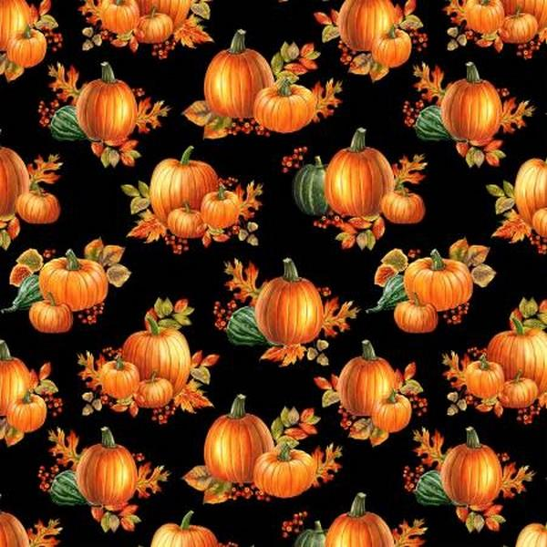 Autumn Elegance Pumpkins on Black by Benartex available in Canada at The Quilt Store