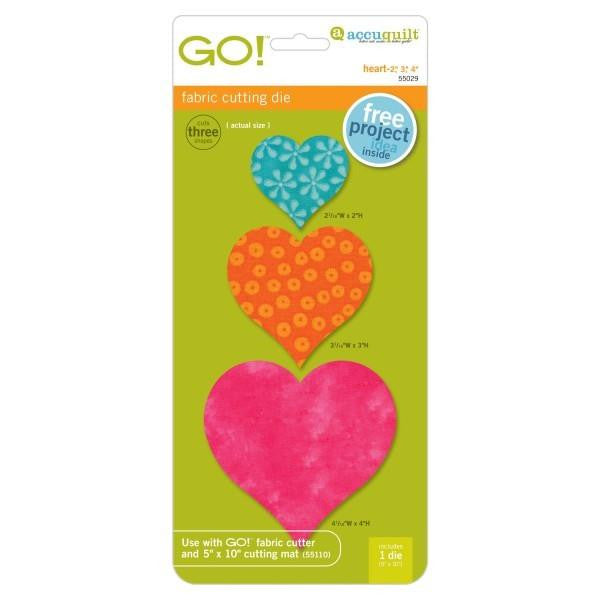 "AccuQuilt Qo! Fabric Cutting Die Heart - 2"", 3"", 4"""