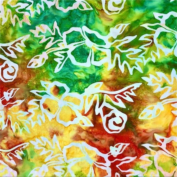 Cantik Batik by Shania Sunga Poppies Green/ orange available in Canada at The Quilt Store