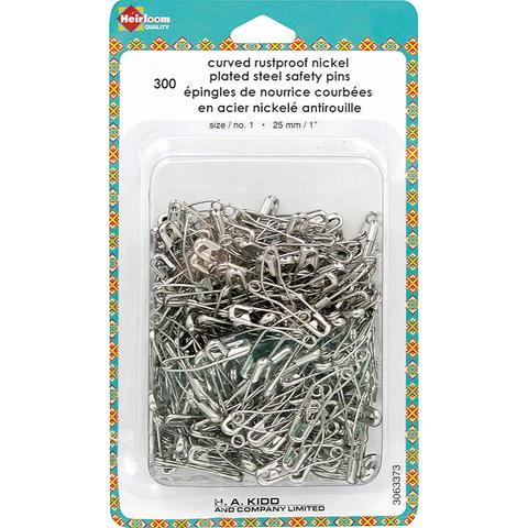 Heirloom Curved rustproof nickel plated safety Pins at The Quilt Store