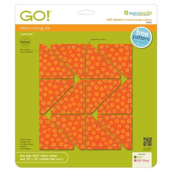 "AccuQuilt Go! Fabric Cutting Die Half Square Triangle 2"" Finished available in Canada at The Quilt Store"