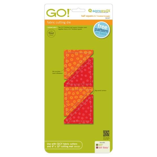 "AccuQuilt Go! Fabric Cutting Die Half Square Triangle 2 1/4"" Finished"