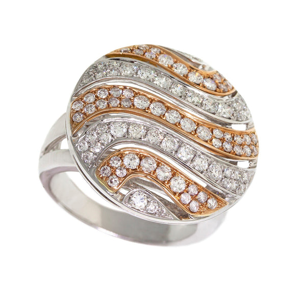 Two-Tone Wave Diamond Ring