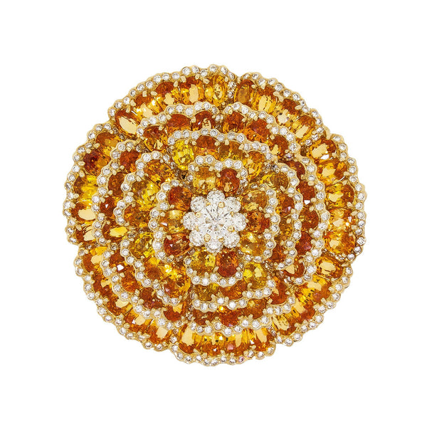 Bloom | Sunburst Orange And Yellow Sapphire Brooch