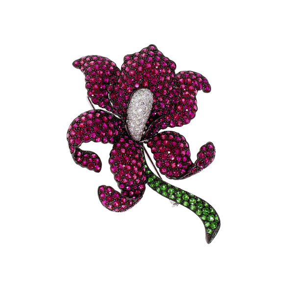 Render | Flower Ruby Brooch