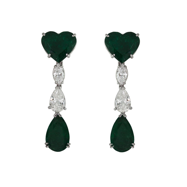 Yearn | Heart Emerald Earrings
