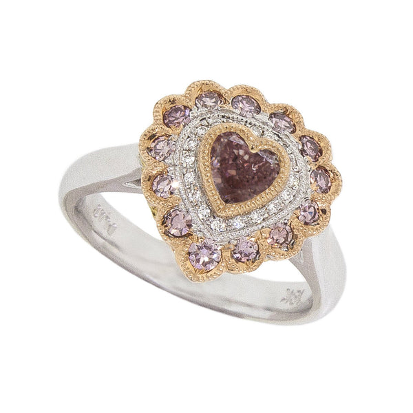 Colored  Heart Pink Diamond Ring