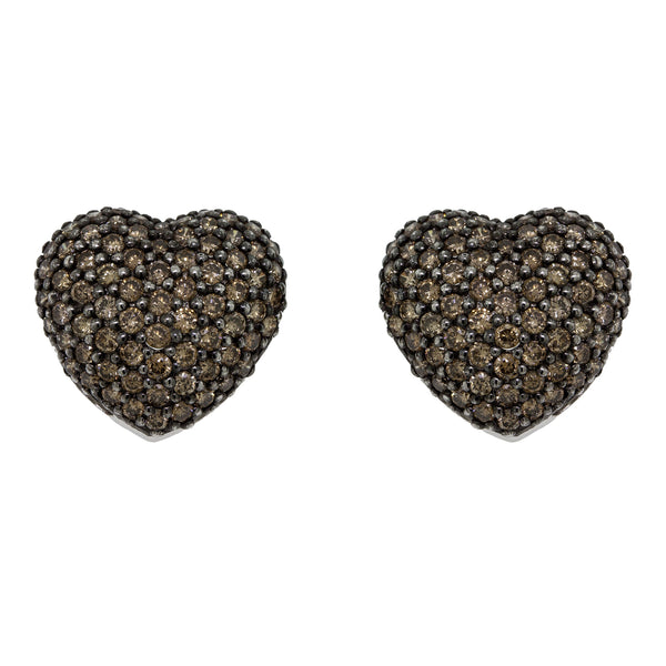 Heart Champagne Diamond Earrings