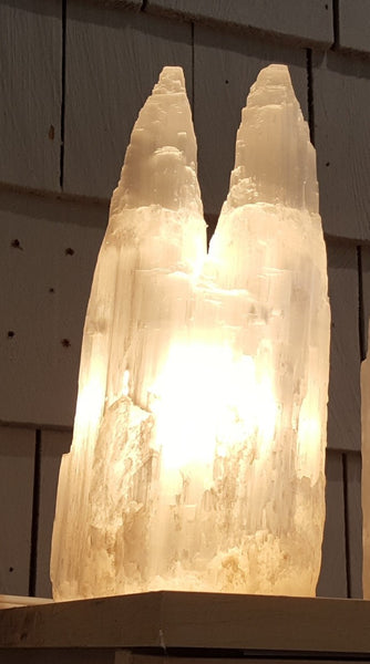Selenite Lamp - Double Tower
