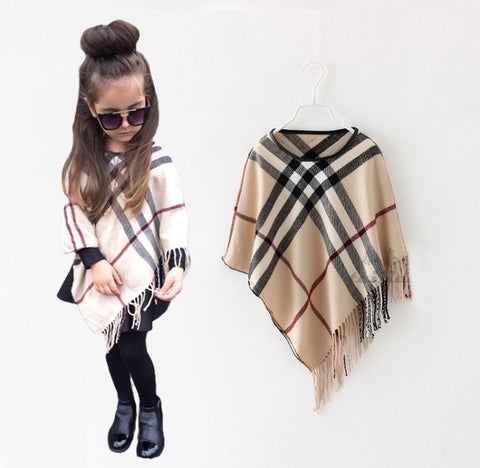 Plaid Poncho Hip Kids Boutique
