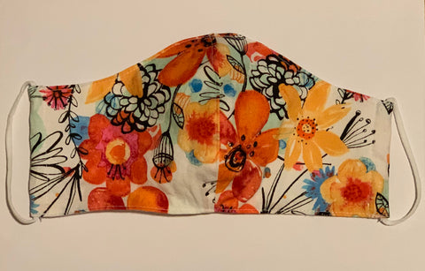 Orange Floral Reversible Face Mask (Adults)