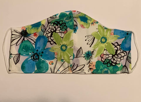 Teal Floral Reversible Face Mask (Adults)