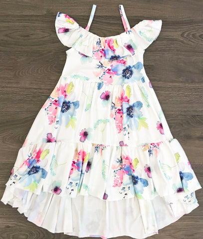 Soft Floral High-Low Dress