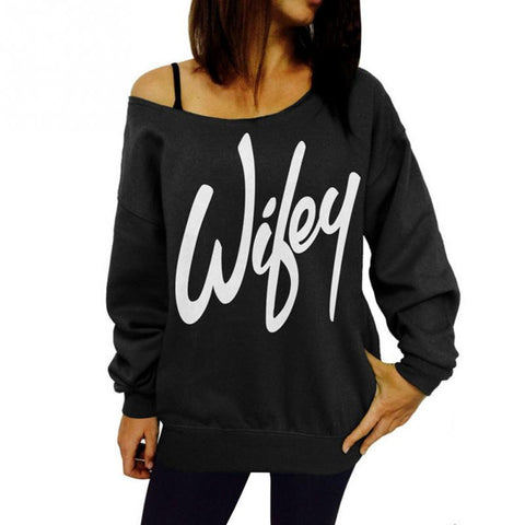 Wifey Off-The-Shoulder Sweatshirt