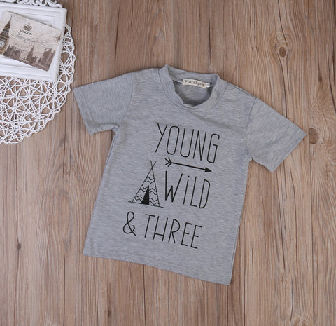 Young, wild & three t-shirt