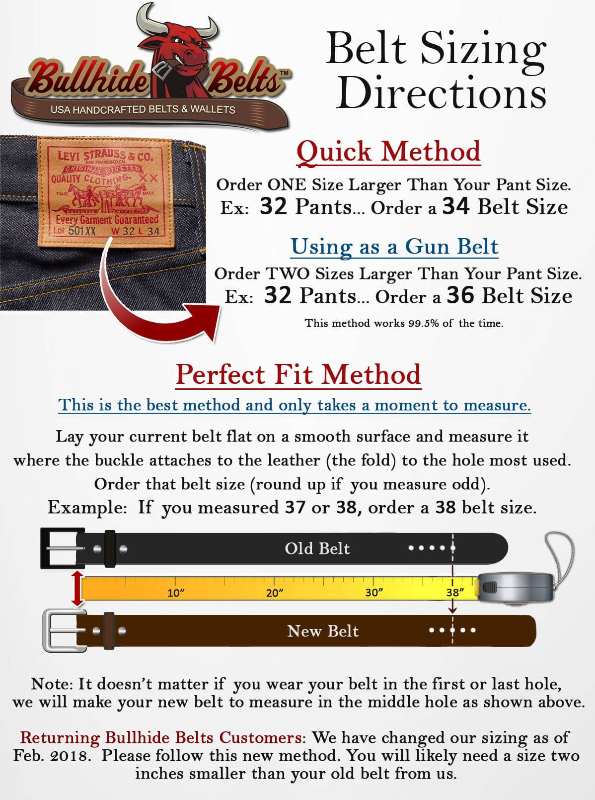 Bullhide Belt Sizing
