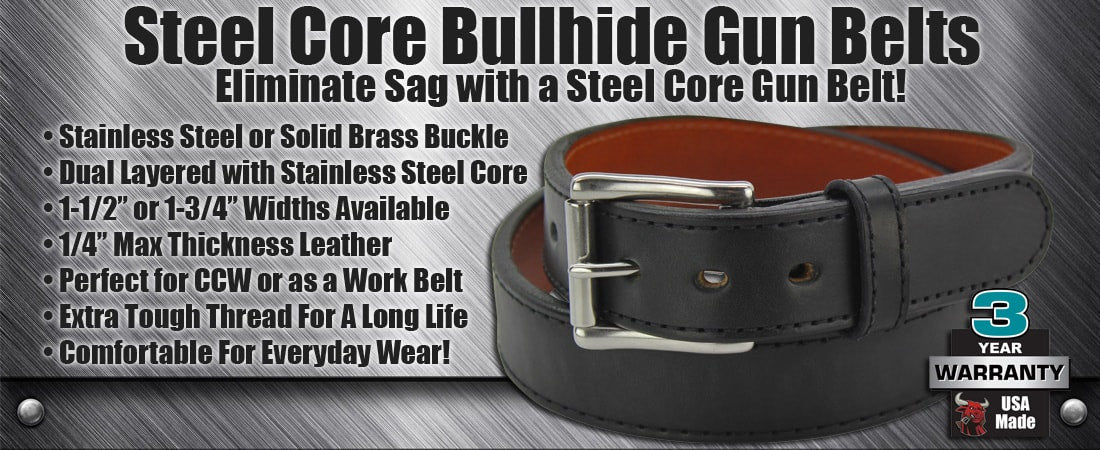 Steel Core Bullhide Gun Belts