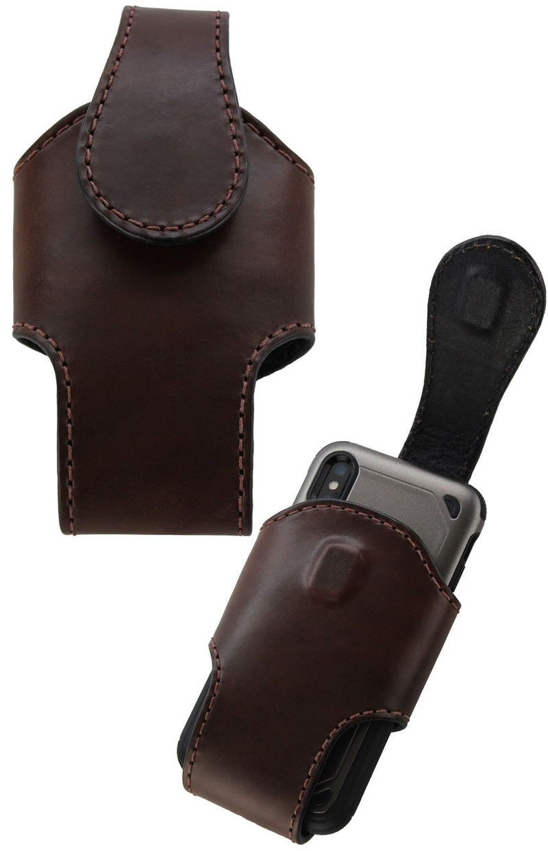 Bullhide Belts Brown Bullhide Leather Vertical Cell Phone Holster Case (SKU 7030-36)