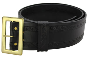 Bullhide Belts Black Leather Oak Leaf Embossed Santa Claus Belt (SKU 8586-18)