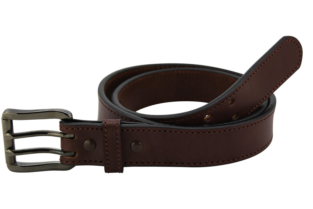 Brown Stitched Max Thickness Double Prong Bullhide Belt (SKU 8960GM-36)