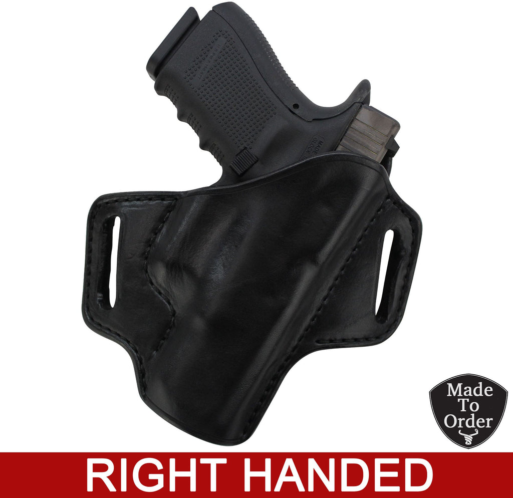 Bullhide Belts Black Leather Molded Gun Holster - FBI Forward Cant - Black Stitching - Right Handed