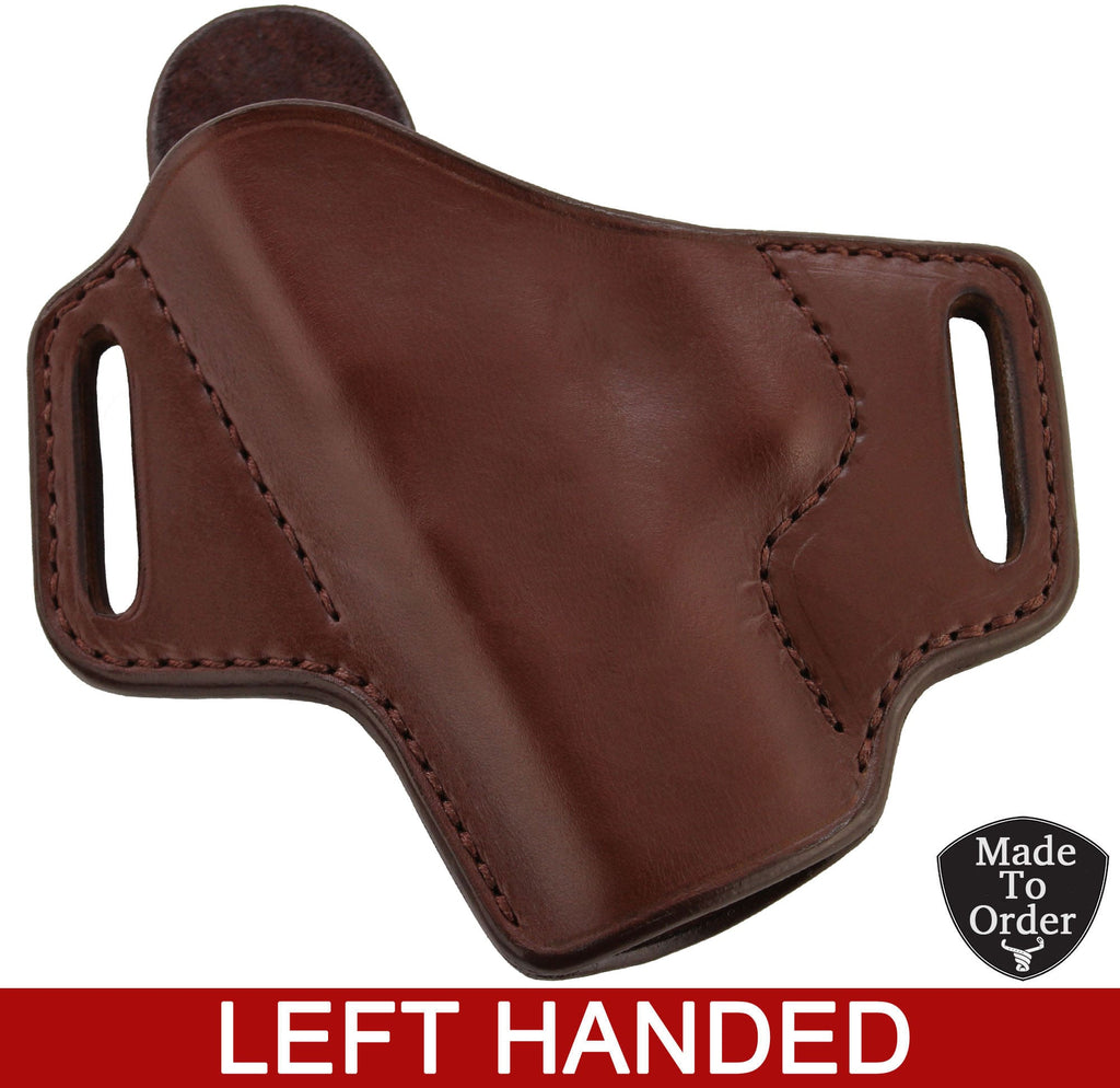 Brown Leather Molded Gun Holster - FBI Forward Cant - Brown Stitching - Left Handed