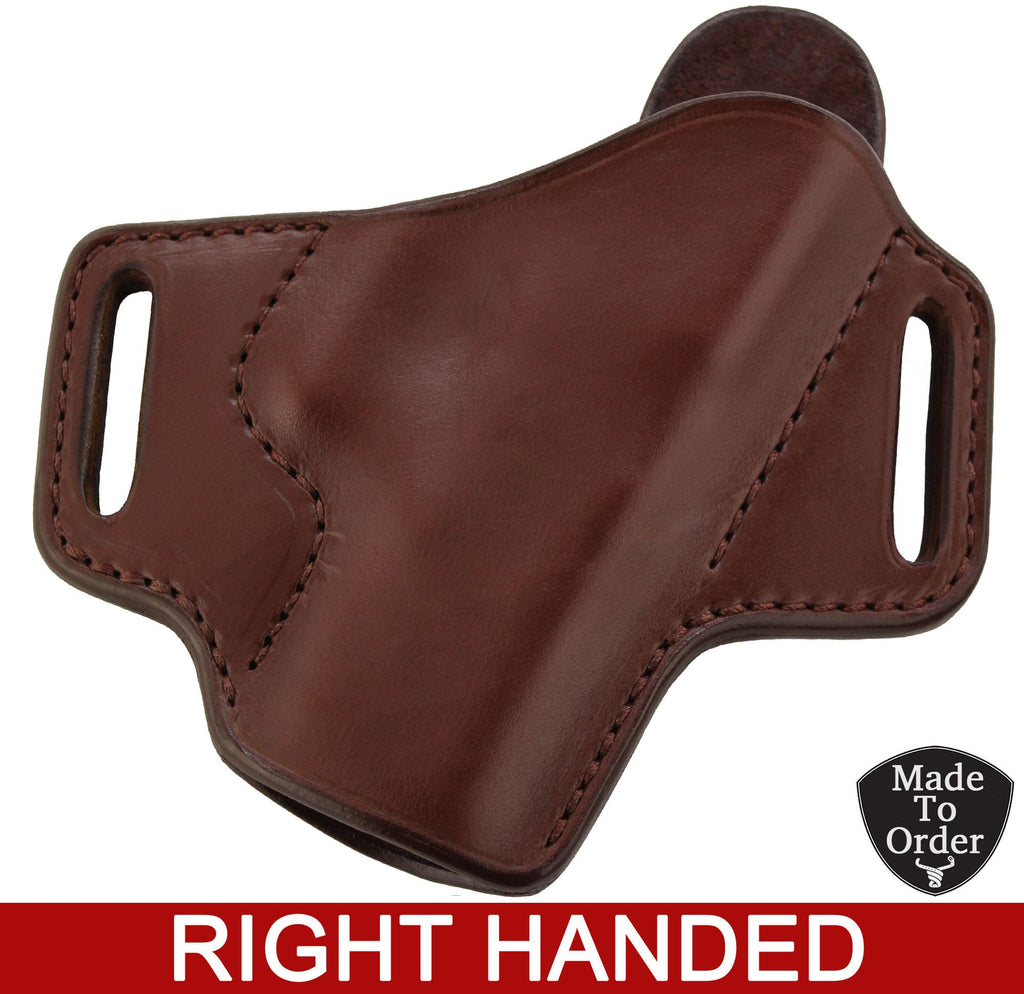 Brown Leather Molded Gun Holster - FBI Forward Cant - Brown Stitching - Right Handed