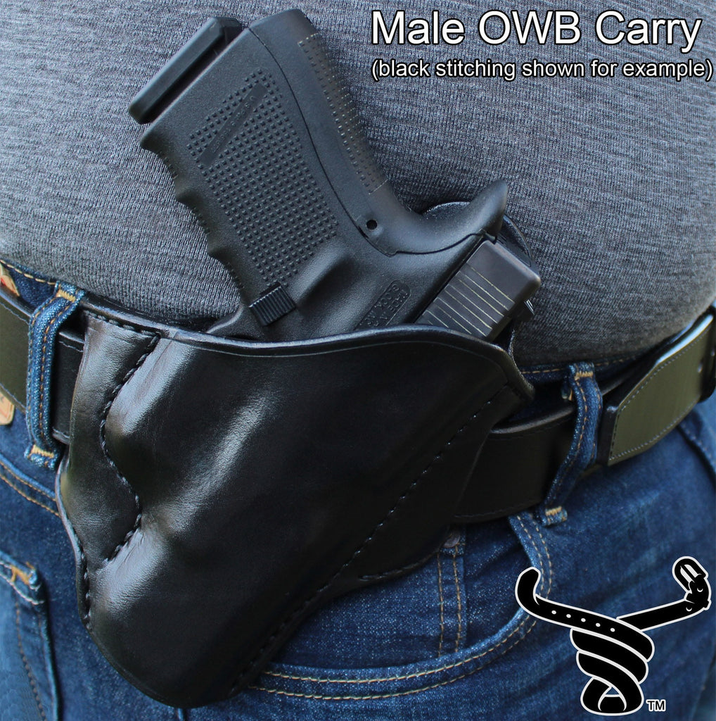 Bullhide Belts Black Leather Molded Gun Holster - FBI Forward Cant - Black Stitching - Left Handed