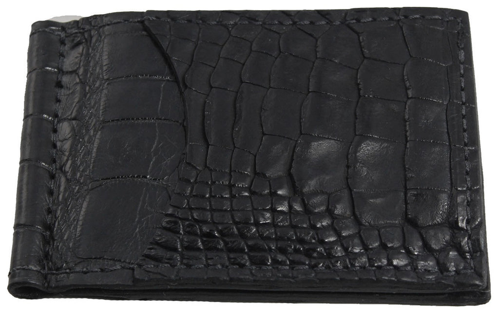 Bullhide Belts Black Alligator Bifold Slim Profile Wallet With Money Clip