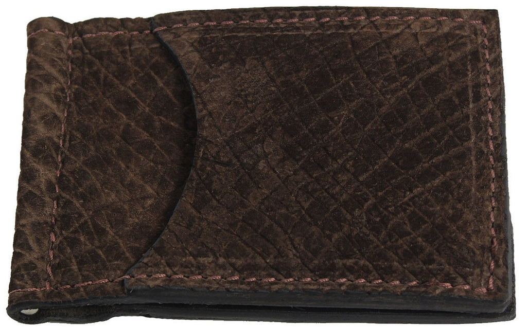 Bullhide Belts Brown Hippopotamus Bifold Slim Profile Wallet With Money Clip