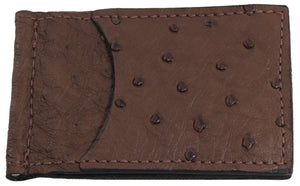 Bullhide Belts Brown Ostrich Bifold Slim Profile Wallet With Money Clip