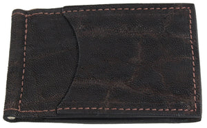 Bullhide Belts Dark Brown Elephant Bifold Slim Profile Wallet With Money Clip
