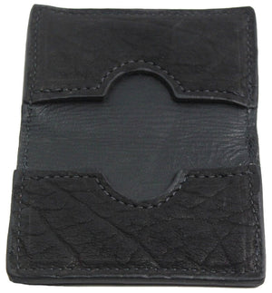 Bullhide Belts Genuine Black American Bison Credit Card & Business Card Wallet