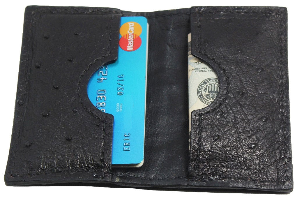 Bullhide Belts Genuine Black Ostrich Credit Card & Business Card Wallet