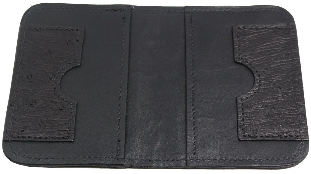 Bullhide Belts Genuine Black Ostrich Passport Wallet