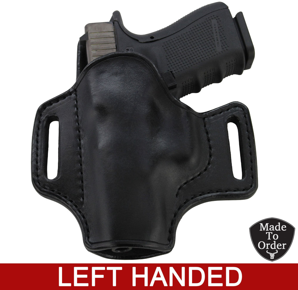 Black Leather Molded Gun Holster - Straight Drop - Black Stitching - Left Handed