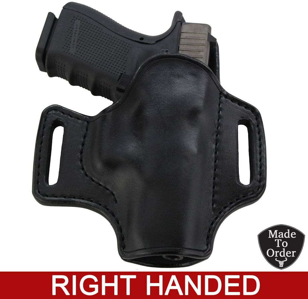 Black Leather Molded Gun Holster - Straight Drop - Black Stitching - Right Handed