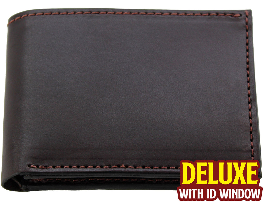 Bullhide Belts Brown Premium Bridle Leather USA Made Deluxe Bifold Wallet With ID Window