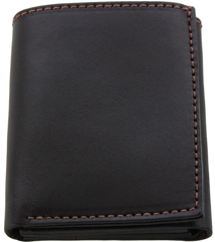 Bullhide Belts Brown Premium Bridle Leather USA Made Trifold Wallet With ID Window