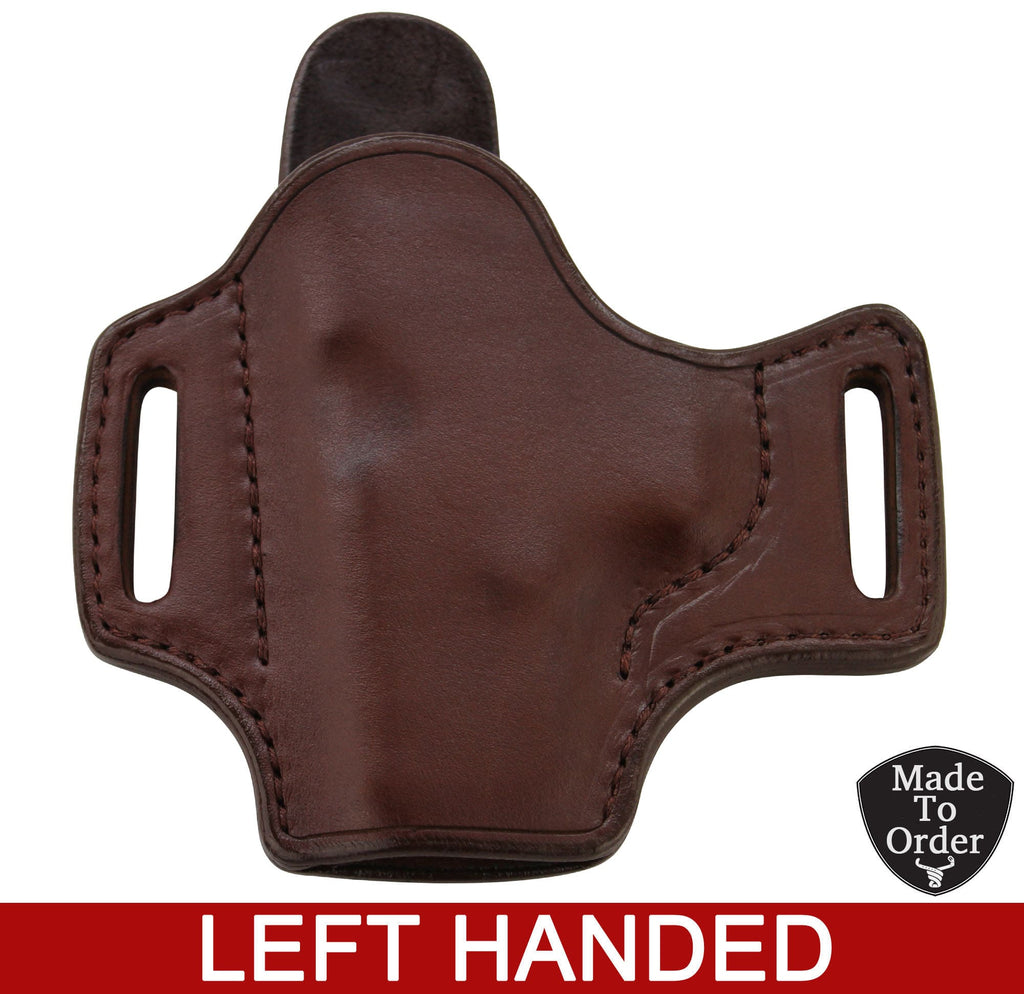 Brown Leather Molded Gun Holster - Straight Drop - Brown Stitching - Left Handed