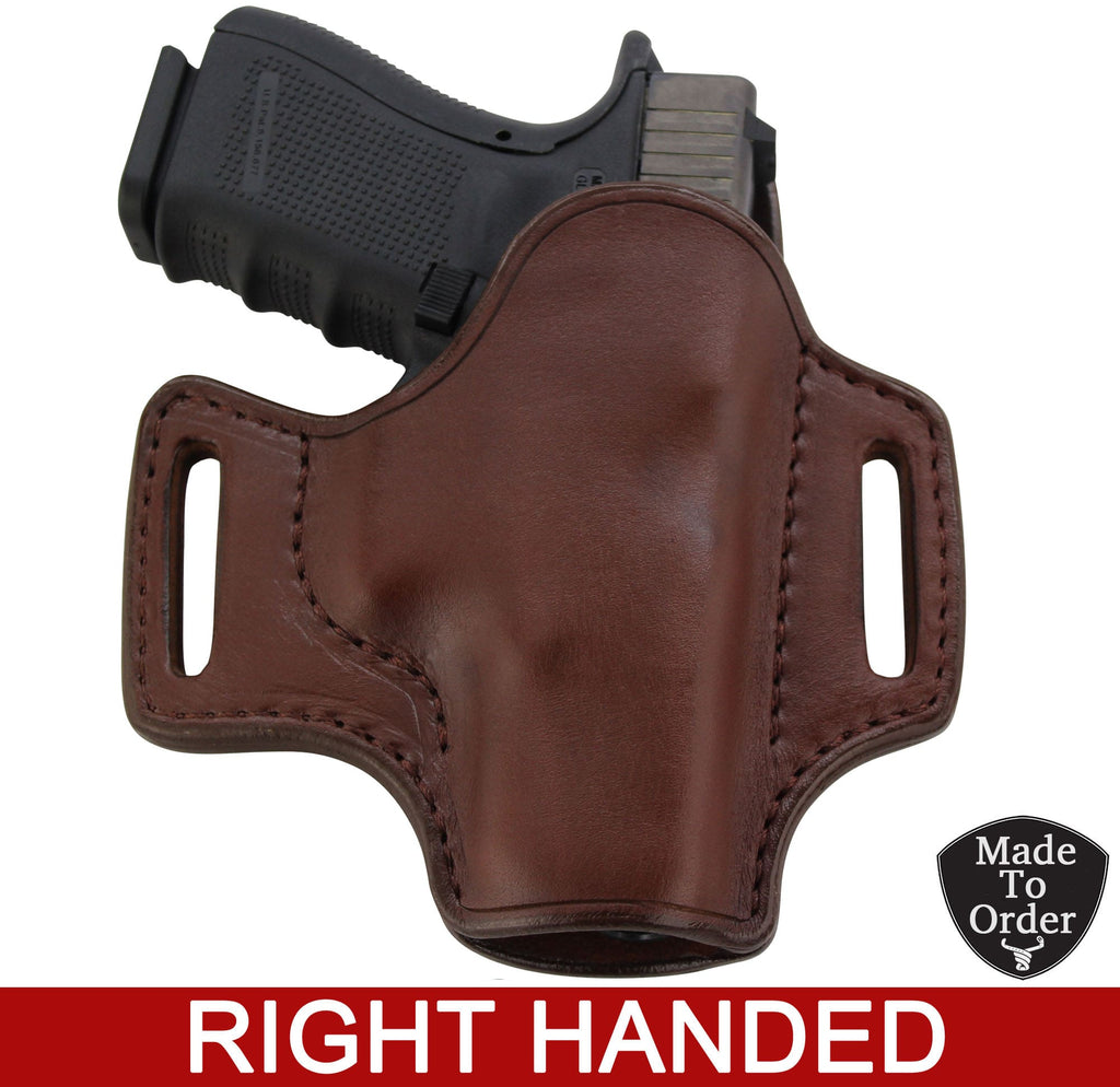 Brown Leather Molded Gun Holster - Straight Drop - Brown Stitching - Right Handed